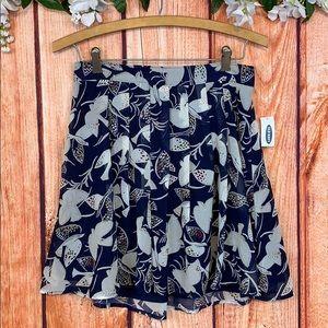 NWT Old Navy Pleated Bird Miki Skirt